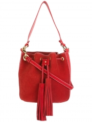 calf leather contrast color stitching bucket tote bag with tassel and embossed internal logo stamp