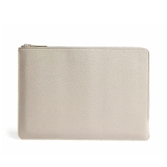 grained leather zipper fastening laptop case clutch