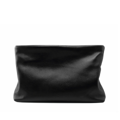 neutral black soft lamb skin leather business clutch bag