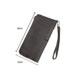 soft black grain leather zipper and foldover wallet with handle