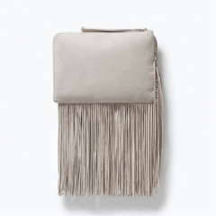luxury suede leather handle fringe clucth