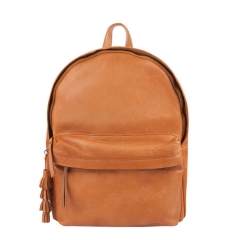 natural grain leather laptop compartment backpack with tassel keyring