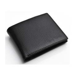 black casual style men soft pebbled leather slim wallet