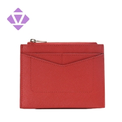 Red Credit Card Holder Slim Minimalist Wristlet Card Case Saffiano leather Lady Wallet with Zipper Pocket