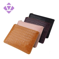 wholesale crocodile printed genuine leather women pouch ladies clutch bag