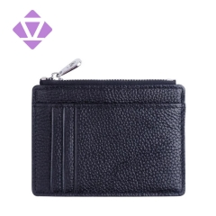 fashion design slim coin purse pebble leather zipper wallet card holder