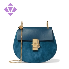 split smooth leather and suede shoulder saddle bag