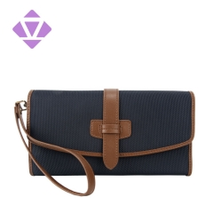 guanghzou classic stylish long leather wallet for men luxury canvas and leather trim small wristlet travel clutch purse