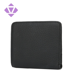 black casual style mens grain pebbled leather slim wallet
