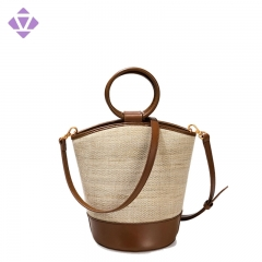 Europe new design simple fashion lady women canvas tote bag with leather handle leather trim