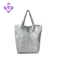 direct factory manufactured fashion female handbag metallic foil leather tote