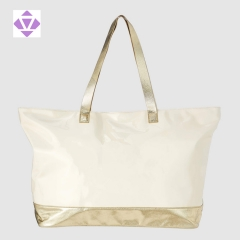 perforted metallic leather and canvas large tote