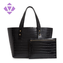 emboss crocodile printed leather black color tote handbag